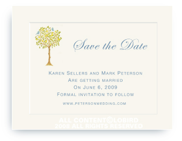Lemon Tree with Birds - Save the Date Cards