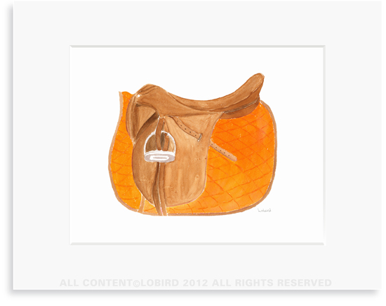 Equestrian-Orange Saddle - 8 x 10 Print in 11 x 14 Mat