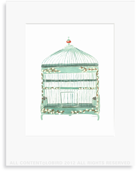 Green Willow Bird Cage- 8 x 10 Print in 11 x 14 Mat