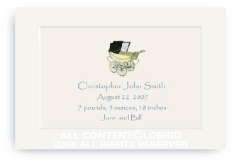 Vintage Baby Carriage Blue - Enclosure Cards