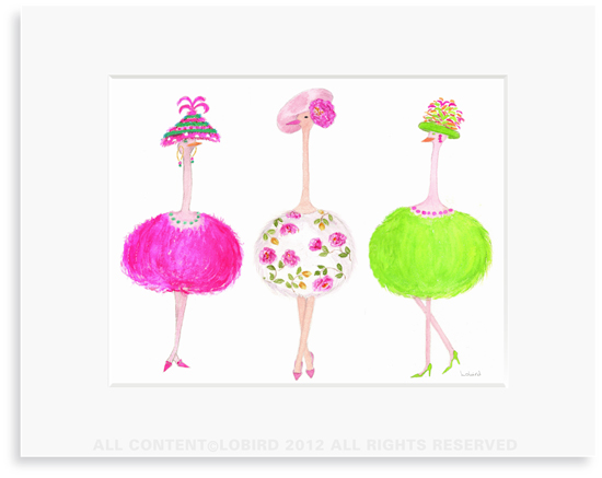 Ostrich Ladies-2- 8 x 10 Print in 11 x 14 Mat
