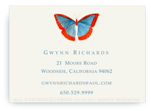 Butterfly - Blue/Red - Calling Cards