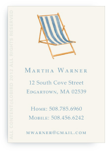 Beach Chair - Blue -Calling Cards