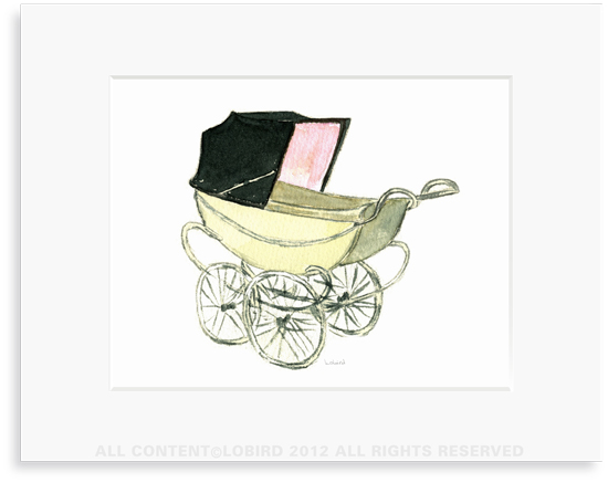 Baby Carriage-Pink - 8 x 10 Print in 11 x 14 Mat