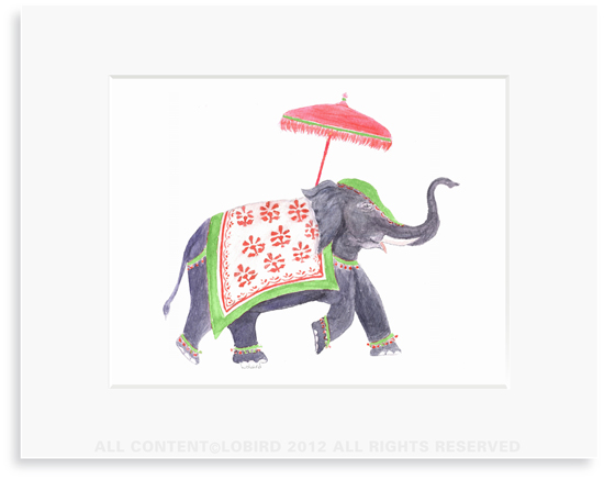 Festive Elephant – Green/Red - 8 x 10 Print in 11 x 14 Mat