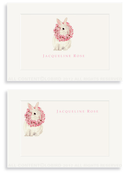 White Rabbit with Magnolia Wreath - Enclosure Cards
