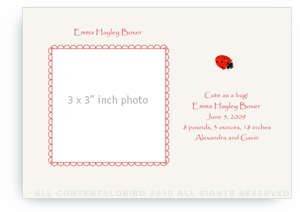 Lady Bug - Baby Announcements