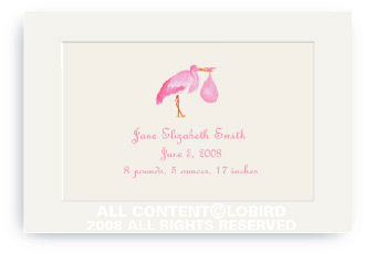 Pink Stork Standing - Enclosure Cards