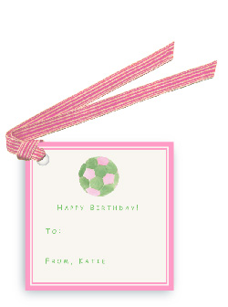 Pink-Green Soccer Ball - Gift Tags