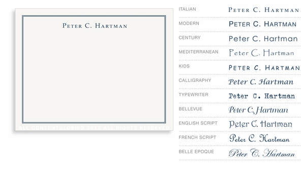 Classic - Just Type (with border) - Flat Note Cards