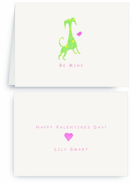 Green Dog Yellow Spots with Heart - Valentines Card