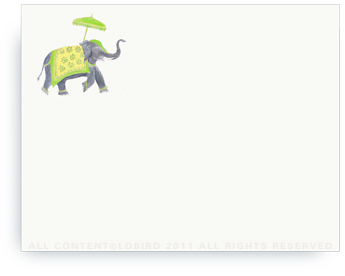 "Festive Elephant - Green/Yellow - Non-Personalized Note Cards (4.25"" X 5.5"")"