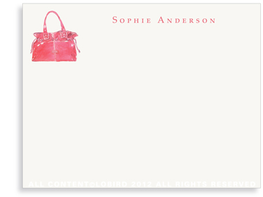 Red Handbag - Flat Note cards