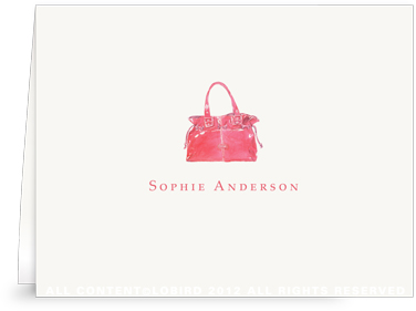 Red Handbag - Folded Note Cards