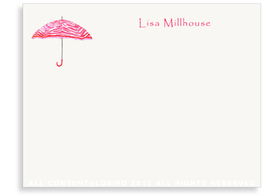 Zebra Umbrella - Strawberry Red - Flat Note cards