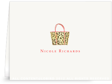 Leopard Handbag - Folded Note Cards