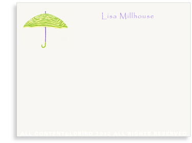 Zebra Umbrella - Lime Green - Flat Note cards