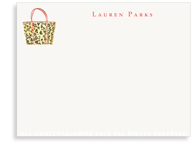 Leopard Handbag - Flat Note cards