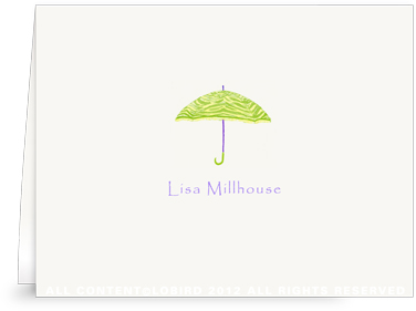 Zebra Umbrella -Lime Green - Folded Note Cards