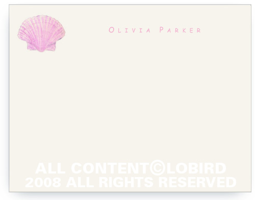 Pink Scallop Shell - Kids - Note cards