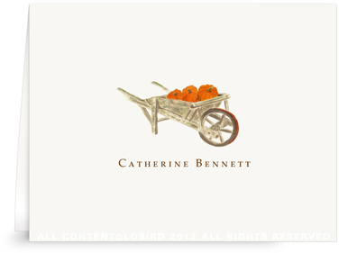 Pumpkins in Wheelbarrow - Folded Note Cards