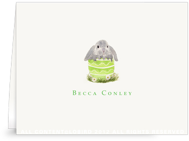 Floppy Bunny in Green Egg - Folded Note Cards