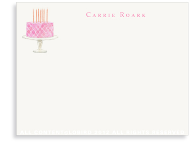 Beaded Birthday Cake - Pink - Flat Note Cards
