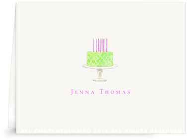 Beaded Birthday Cake - Spring Green -Folded Note Cards