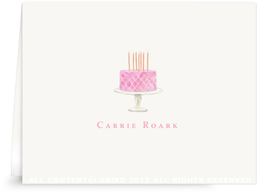 Beaded Birthday Cake - Pink -Folded Note Cards