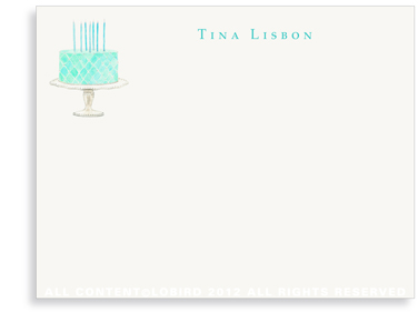 Beaded Birthday Cake - Turquoise - Flat Note Cards