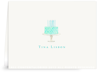 Beaded Birthday Cake - Turquoise - Folded Note Cards