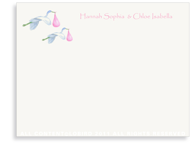 Twins-Flying Pink Storks - Flat Note cards