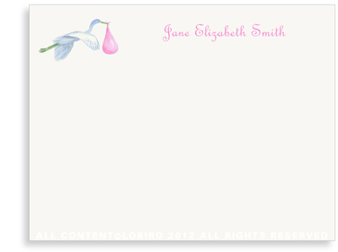 Flying Pink Stork - Flat Note cards