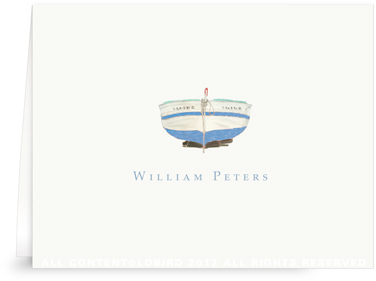 Blue Boat - Folded Note Cards
