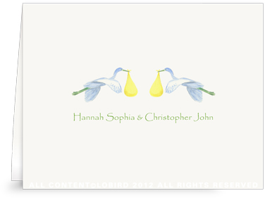 Twin Flying Yellow Storks - Folded Note Cards