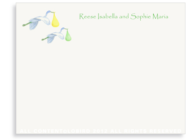 Twin Flying Yellow & Green Storks -Folded Note Cards