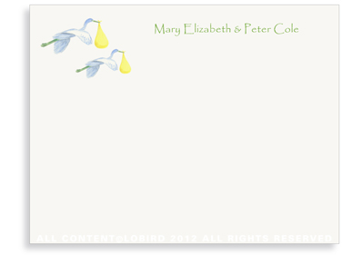 Twin Flying Yellow Stork - Flat Note Cards