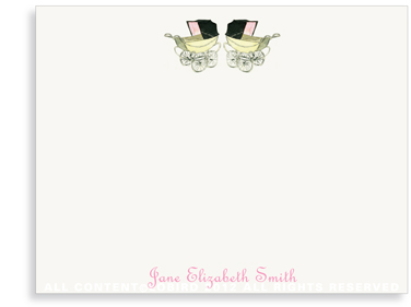 Vintage Twin Baby Carriage Pink - Flat Note Cards
