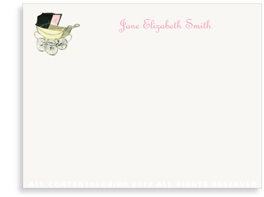 Vintage Baby Carriage Pink - Flat Note cards