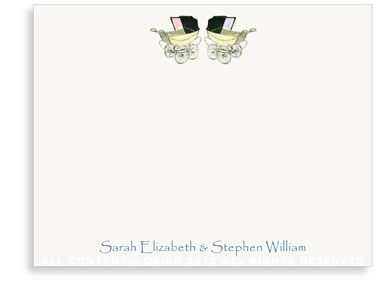 Vintage Twin Baby Carriage Pink & Blue - Flat Note Cards