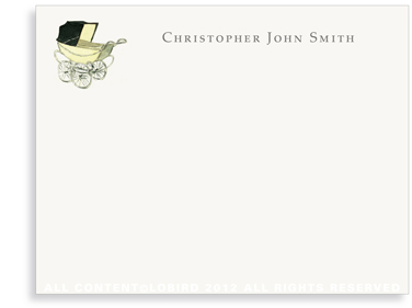 Vintage Baby Carriage Yellow - Flat Note Cards