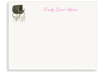 Heritage Black Pram - Flat Note cards