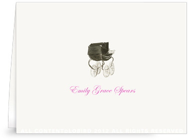 Heritage Black Pram - Folded Note Cards