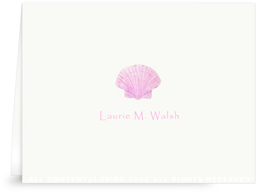 Pink Scallop Sea Shell - Folded Note Cards