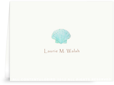 Aqua Green Scallop Sea Shell - Folded Note Cards
