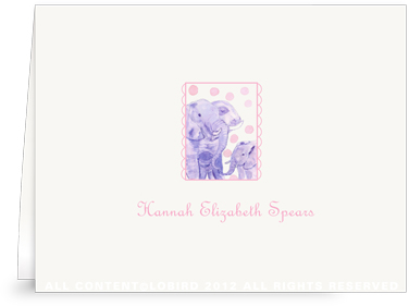 Elephant Mother & Child - Folded Note Cards