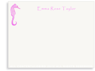 Seahorse Kids- Fuchsia - Flat Note Cards