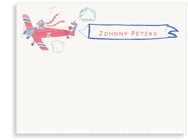 Zebra Flying Plane - Flat Note cards