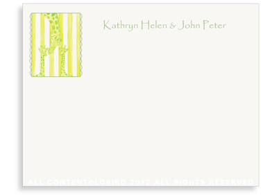 Mother with Twin Giraffes - Flat Note cards