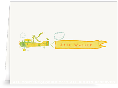Giraffe Flying Plane - Folded Note Cards